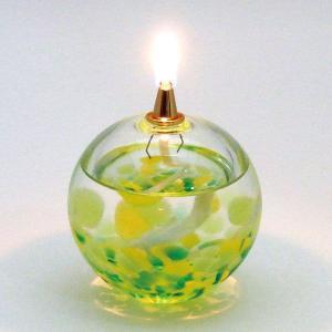 オイルランプ 若葉:北洋硝子・津軽びいどろ|tanken
