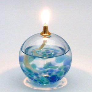 オイルランプ 青空:北洋硝子・津軽びいどろ|tanken