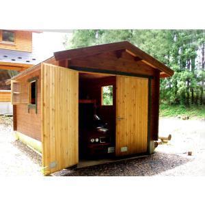 ●タリーA(ログ厚75mm)1台用ガレージ、納屋、倉庫に最適...