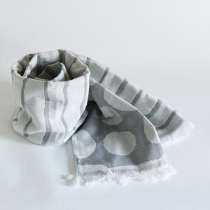 今治タオル コットンマフラー Imabari Towel Cotton Muffler Border&Dot ボーダー&ドット グレー tanokichi