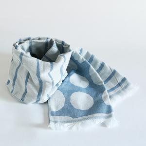 今治タオル コットンマフラー Imabari Towel Cotton Muffler Border&Dot ボーダー&ドット ライトブルー tanokichi