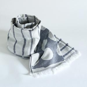 今治タオル コットンマフラー Imabari Towel Cotton Muffler Border&Dot ボーダー&ドット ネイビー tanokichi