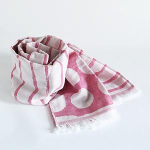 今治タオル コットンマフラー Imabari Towel Cotton Muffler Border&Dot ボーダー&ドット ピンク tanokichi