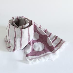 今治タオル コットンマフラー Imabari Towel Cotton Muffler Border&Dot ボーダー&ドット ワインレッド tanokichi