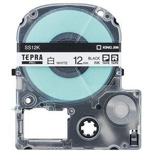 キングジム テプラ PRO テープカートリッジ 12mm 白/黒文字 SS12K 1個|tanomail