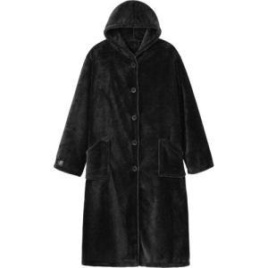 ナイスデイ mofua プレミアムマイクロファイバー 着る毛布(フード付) ブラック 1枚