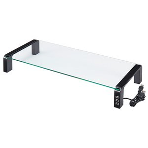 キングジム デスクボード USBハブ付 W550×D230×H80mm 天板:透明無色 脚:ブラック THDBU−20K 1台|tanomail