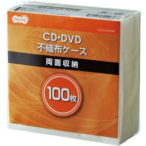 TANOSEE CD・DVD不織布ケース 両面2枚収納 1パック(100枚)|tanomail