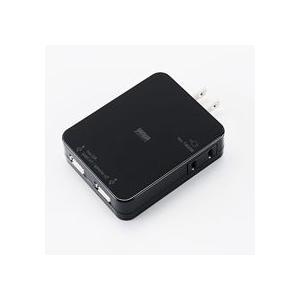 サンワサプライ USB充電タップ型ACアダプタ 出力計2.1A 2ポート ブラック ACA−IP25BK 1個