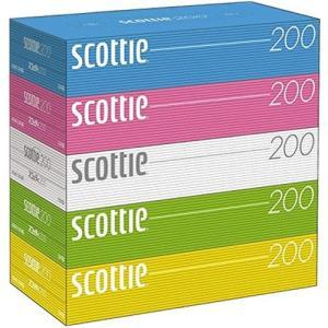 日本製紙クレシア スコッティ ティシュー 200組/箱 (カラー) 1パック(5箱)