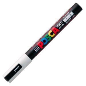 三菱鉛筆 水性マーカー ポスカ 細字丸芯 白 PC3M.1 1本