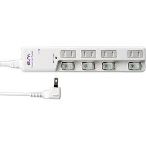 ELPA 耐雷サージ LEDスイッチ付タップ(ブレーカー付・上差し) 4個口・5m WLS−LU45...