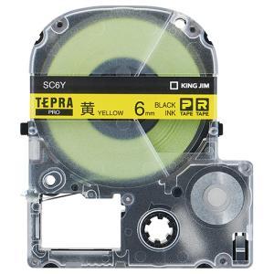 キングジム テプラ PRO テープカートリッジ パステル 6mm 黄/黒文字 エコパック SC6Y−5P 1パック(5個)