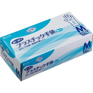 リブドゥコーポレーション リフレ 使い捨てプラスチック手袋 粉なし M 1箱(100枚)|tanomail