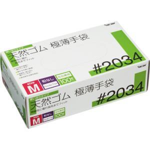 川西工業 天然ゴム極薄手袋 粉なし M #2034 1箱(100枚)|tanomail