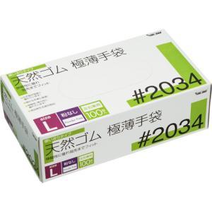 川西工業 天然ゴム極薄手袋 粉なし L #2034 1箱(100枚)|tanomail
