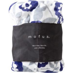 ナイスデイ mofua プレミアムマイクロファイバー 着る毛布(フード付) 花柄 ネイビー 1枚