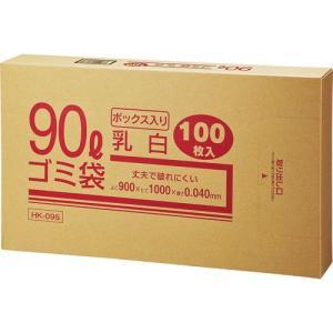 クラフトマン 業務用乳白半透明 メタロセン配合厚手ゴミ袋 90L BOXタイプ HK−095 1箱(100枚)