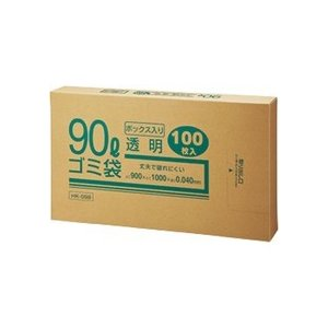 クラフトマン 業務用透明 メタロセン配合厚手ゴミ袋 90L BOXタイプ HK−098 1箱(100枚)