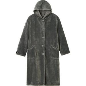 ナイスデイ mofua プレミアムマイクロファイバー 着る毛布(フード付) グレー 1枚