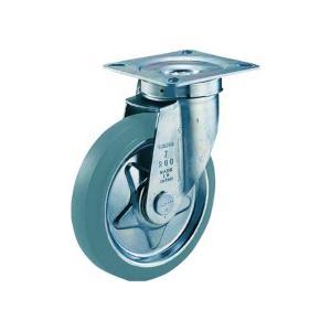 TRUSCO プレス製グレーゴムキャスター 自在 φ200 TJ−200G 1個 (お取寄せ品)