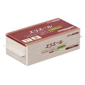 大王製紙 エリエールペーパータオル スマートタイプ 無漂白シングル 中判 200枚/パック 1セット(30パック)|tanomail