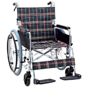 アルミ自走用ワイドタイプ車いす 背折れタイプ KS50-4643 車椅子 介護用品 hkz