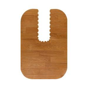 介護用品 拭ける吸着トイレマット ロングタイプ ウッド調 90×60cm|tanosinia