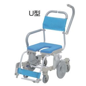 介護用 シャワーキャリー シャトレチェア6輪 SW-6083 O型バケツ付 ウチヱ 介護用品 入浴用車いす|tanosinia