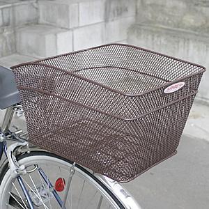 自転車用後ろかご 鉄製 ブラウン メッシュタイプ 金具付き|tanpopo