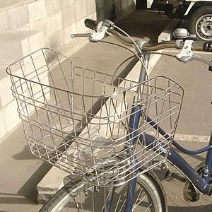 自転車用前カゴ ワイドカゴ ワイヤーメッシュ ステンレス D-55ST 軽快車、シティサイクル、ママチャリ用 自転車の前かご 前カゴ フロント取り付けカゴ|tanpopo