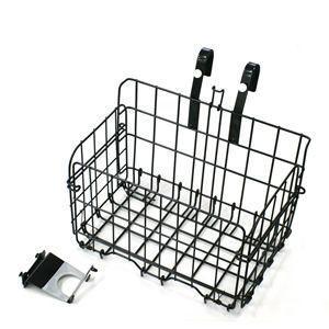 自転車用 折畳み式フロントバスケット SOT-20 鉄製前カゴ ブラック|tanpopo