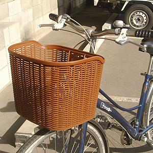 【OGK】フロントバスケット 自転車用前かご FB-003 ダークブラウン tanpopo
