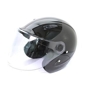 セミジェットヘルメット KSJ-323 バイク用 メタリックブラック tanpopo