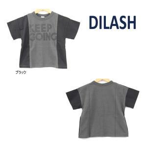 【セール/10%OFF】21'夏新作 DILASH ディラッシュ KEEPGOINGロゴ切替半袖Tシャツ dl21es107 ベビー 子供服 メール便送料無料|tanpopokids