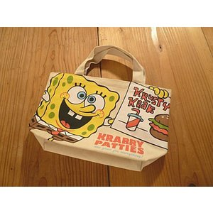 【輸入雑貨】バーガースポンジボブマチ付きコットンミニバッグ|tanpopokids
