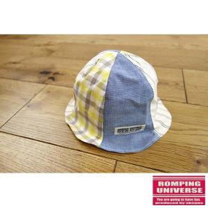 19'夏新作 日本製 ROMPING UNIVERSE ランピングユニバース チェックストライプ切替チューリップハット ベビー用/帽子 メール便送料無料|tanpopokids