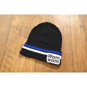 【セール/30%OFF】WAMWAM ワムワム Wamワッペン2ラインニット帽 子供服 メール便送料無料 17'秋冬新作|tanpopokids