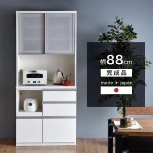 レンジ台 食器棚 レンジボード スリム キッチン収納 完成品 幅88 国産 コンセント キッチンボード 台所収納 モイス おしゃれ 大型商品|tansu