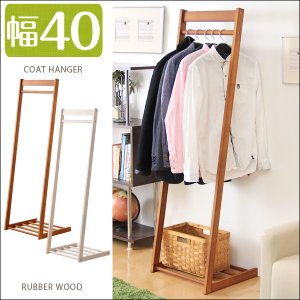 ハンガーラック コートハンガーラック L型 棚付き 木製 ハンガー ラック|tansu
