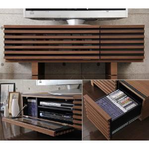 テレビ台 ローボード TV台 テレビボード AVボード ロータイプ 完成品 ウォールナット 天然木 110 ブラウン 32型 木製 32インチ 32 収納 家具|tansu|04