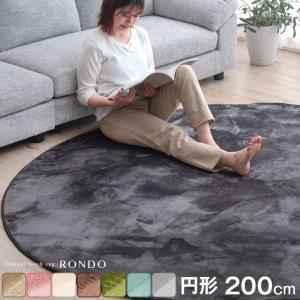 ラグ カーペット 洗える ラグマット 200×200 滑り止め付 リビングマット 低反発 円形 防ダニ ホットカーペット 床暖房 防音 絨毯 シンプルの写真
