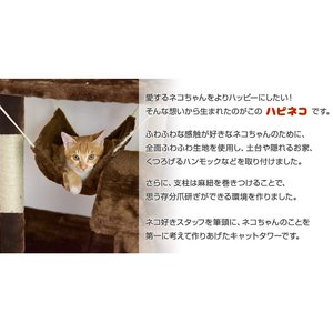 キャットタワー 据え置き 130cm 猫タワー 置き型 爪研ぎ 麻紐 ねこ 猫 ネコ つめとぎ ハンモック キャットハウス 多頭 おしゃれ|tansu|04