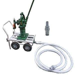 ●緊急用・災害用に備えて安定性のある四輪タイヤの移動式手押しポンプを!