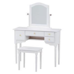 ds-1315442 ドレッサーセット 引き出し付きテーブル/スツール(チェア) 木製 白 【代引不可】 (ds1315442)