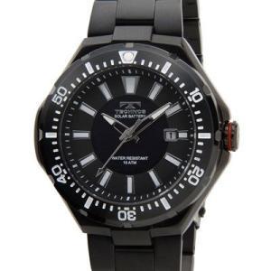 Technos テクノス T2415BB ソーラーバッテリー デイト 10気圧防水 ブラック メンズ 腕時計|tantan