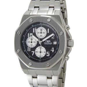 Technos テクノス T4393SB クロノグラフ デイト 10気圧防水 八角形 ブラック×シルバー メンズ 腕時計|tantan