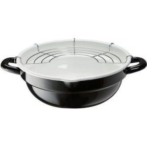 高木金属工業 4975357204660 ホーロー 天ぷら鍋 (揚げ網付き)24cm ブラック&ホワイト(IH対応)|tantan