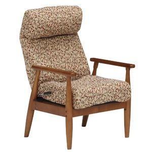 ds-1645411 【組立設置費込】座椅子 木製/ウレタンフォーム 肘付き/背部レバー式7段階/頭部14段階リクライニング レッド(赤) 【組立品】【代引不可】