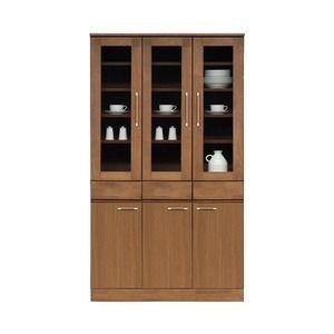 ds-1652743 ダイニングボード(食器棚/キッチン収納) 【幅105cm】 木製 ガラス扉 日本製 ブラウン 【MORRIS】モーリス 【完成品 開梱設置】【代引不可】